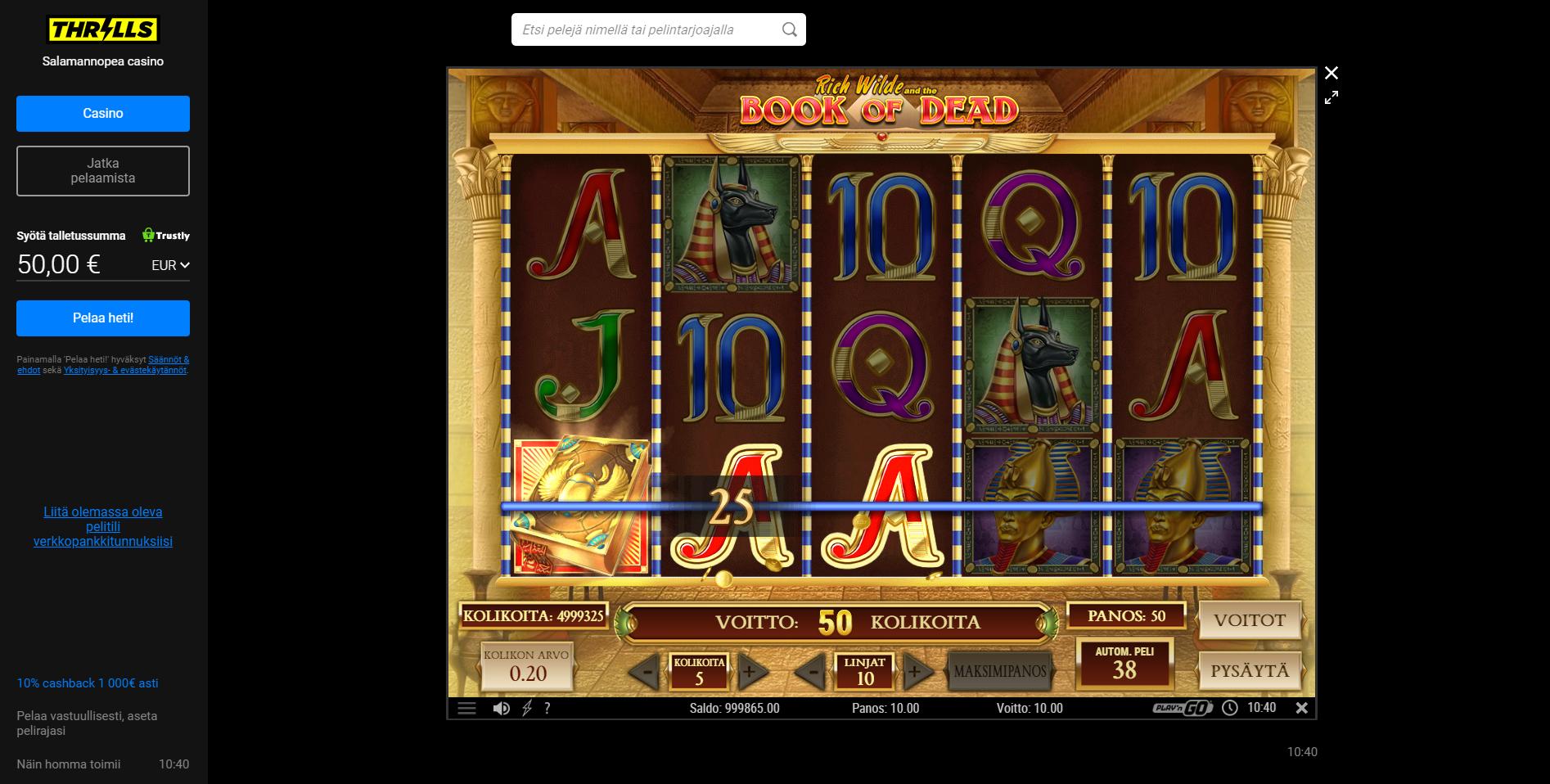 thrills casino top pelit