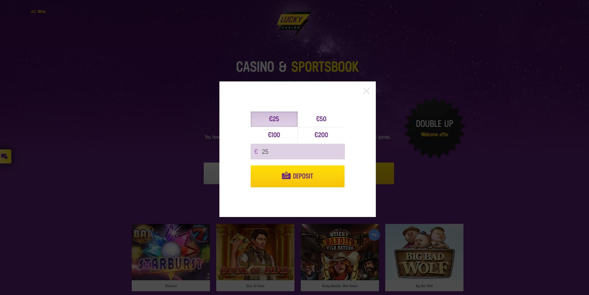 lucky casino deposit